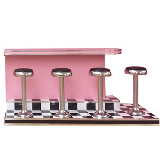Diner Bar w/Checkered Floor and Stools RIGHT SIDE L8ft