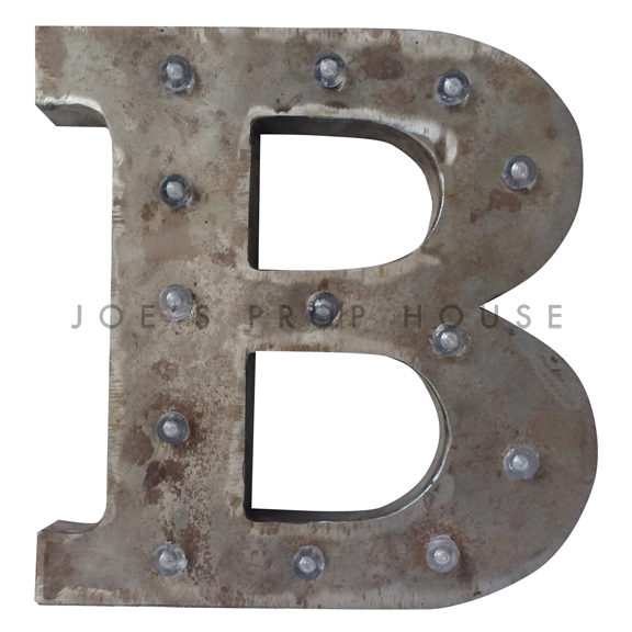 12in Galvanized Metal Marquee Letter B