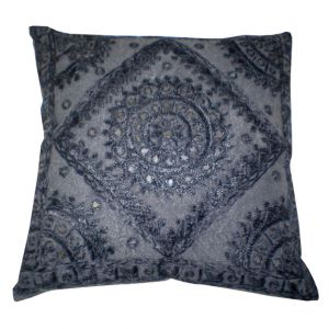 Meknes Embroidered Accent Pillow Black