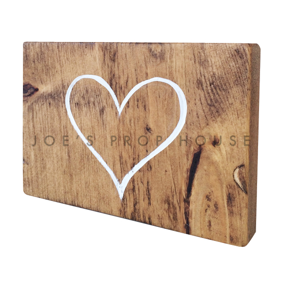 Wooden Table Number Block HEART W7in x H5in
