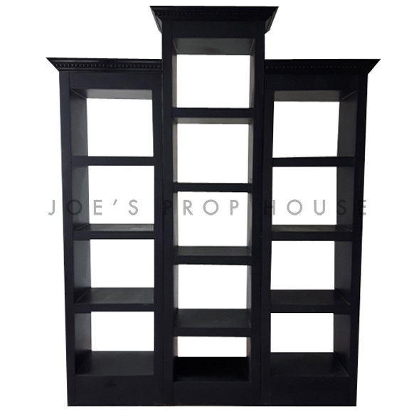 Tower Barback Trio w/Crown Molding Black
