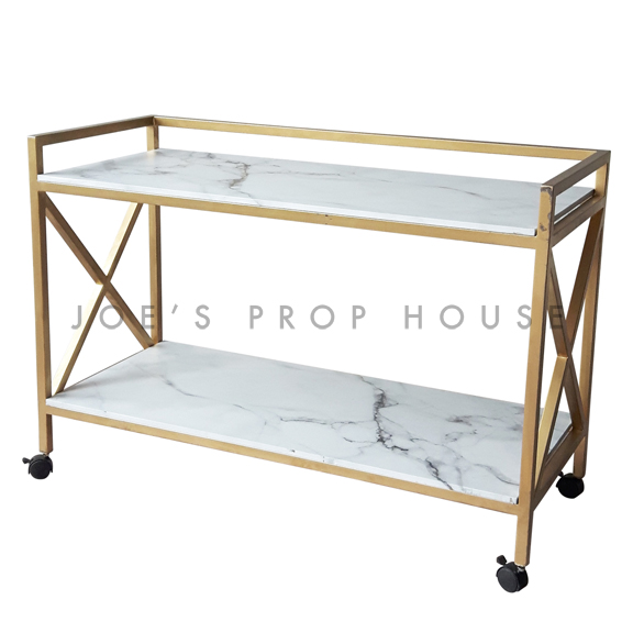 Gold Rolling Bar Cart w/Faux Marble