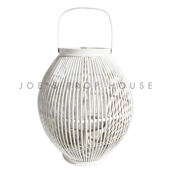 Gardenia Wicker Lantern White Large