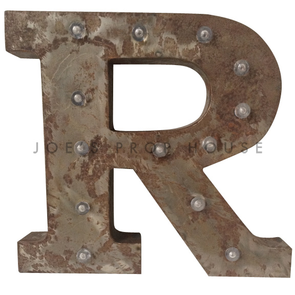 12in Galvanized Metal Marquee Letter R
