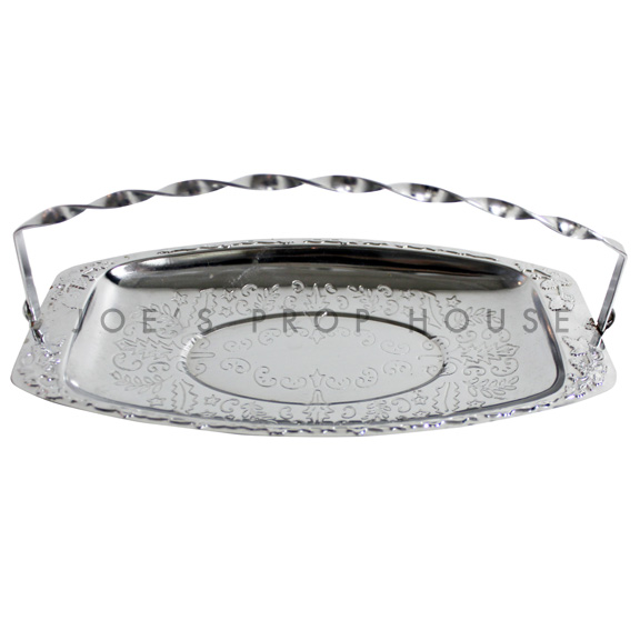Marley Engraved Oval Silver Serving Tray