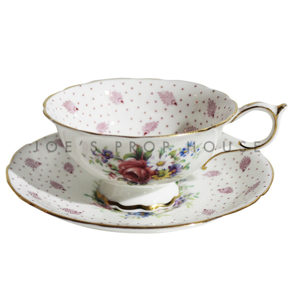Plume Floral Teacup and Saucer