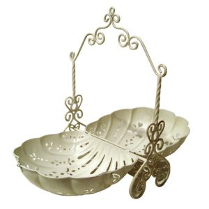 Shelley Ornate Metal Serving Tray Ivory