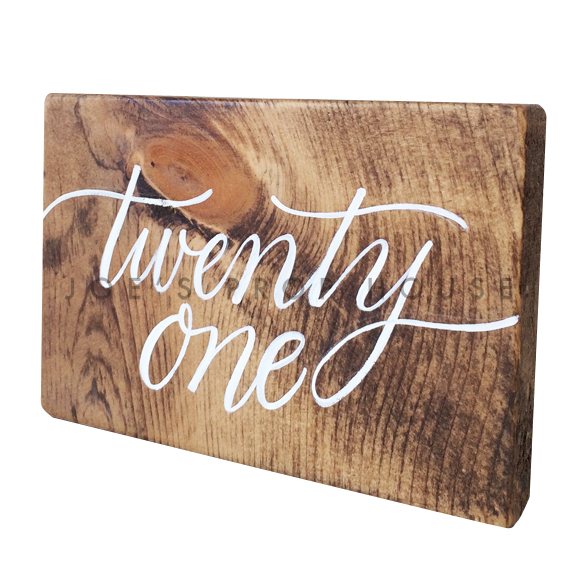 Wooden Table Number Block TWENTY ONE W7in x H5in