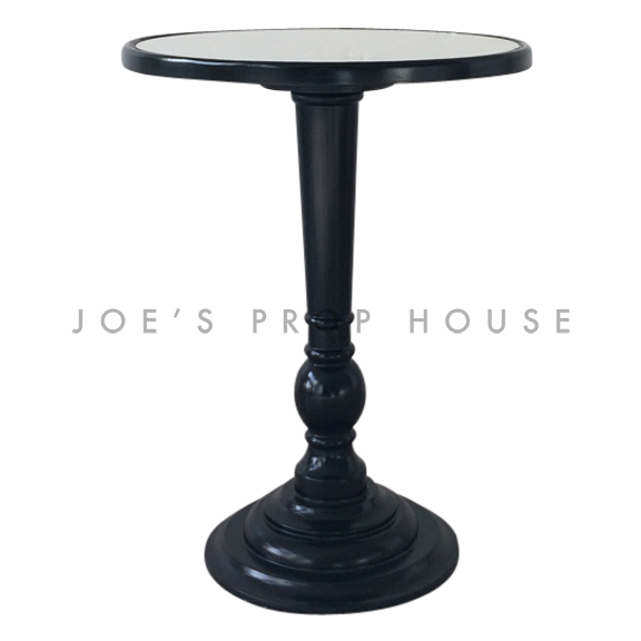 City Round Pedestal End Table Black MIRROR TOP