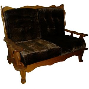 Lodge Faux-Fur Loveseat Brown