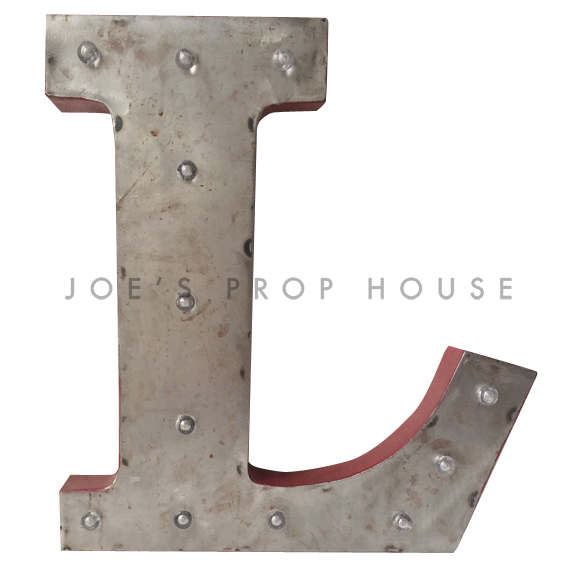 18in Galvanized Metal Marquee Letter L