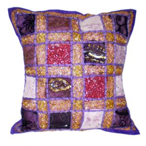 Lareda Patchwork Embroidered Pillow Purple