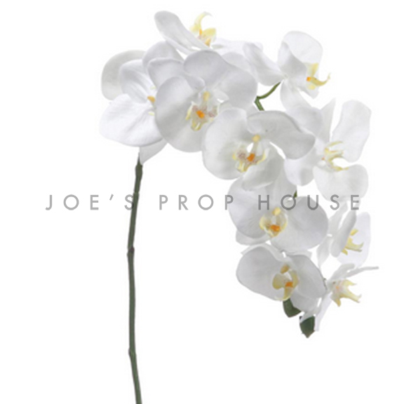 Artificial Long Stem Phalaenopsis Orchid Spray White
