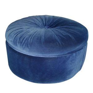 Dolores Round Velour Ottoman Blue
