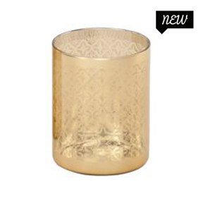 Gold Etched Glass Votive Cups 3in x 4in