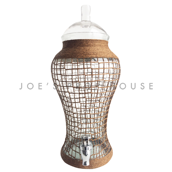 Bayon Netted Glass Beverage Dispenser w/Glass Lid-4 liters