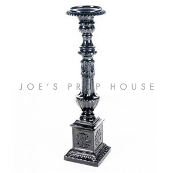 Baroque Candlestick Large Black H34in