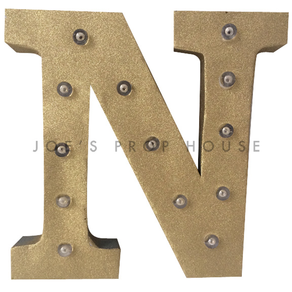 12in Gold Glitter Metal Marquee Letter N