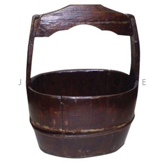 Woodro Solid Wood Oval Basket w/handle