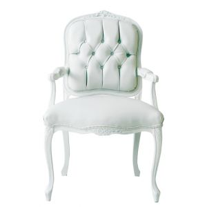 BUY ME / USED ITEM $295.00 each White Vinyl Louis XV Tufted Armchair