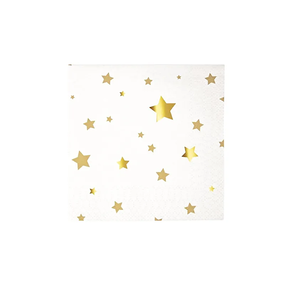 BUY ME / NEW ITEM $6.99 each Gold Stars Small Paper Napkins - 16 Pack