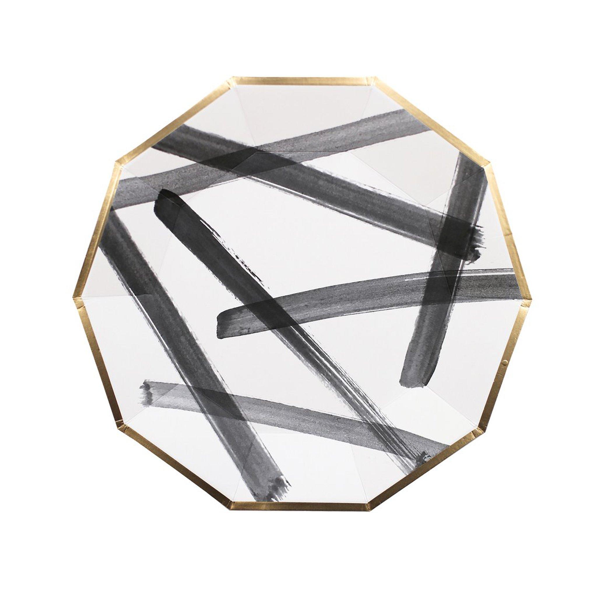 BUY ME / NEW ITEM $10.99 each Black Brush Stroke Large Paper Plates - 8 Pack