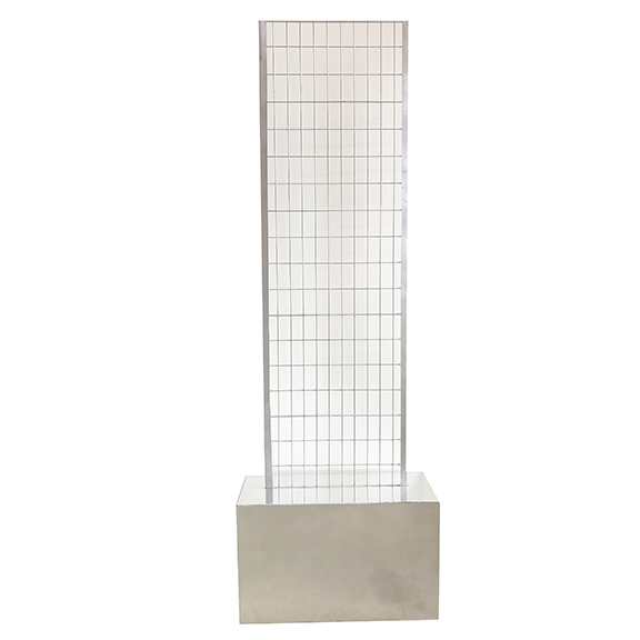 Self-Standing Silver Metal Grid w/Chrome Base H89in