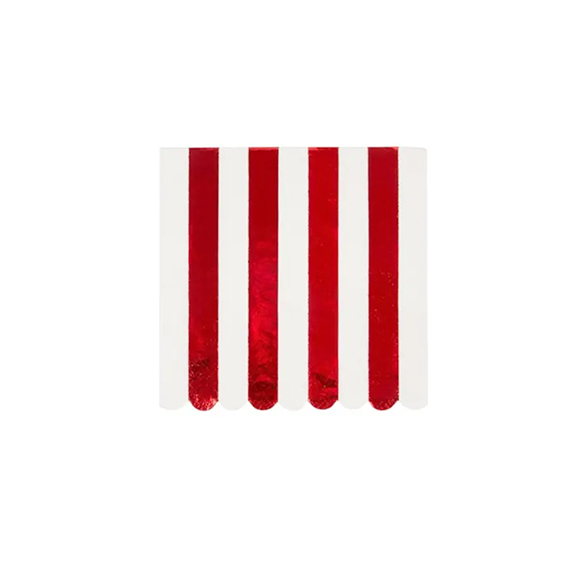 BUY ME / NEW ITEM $6.99 each Red Foil Stripe Small Napkins - 16 Pack