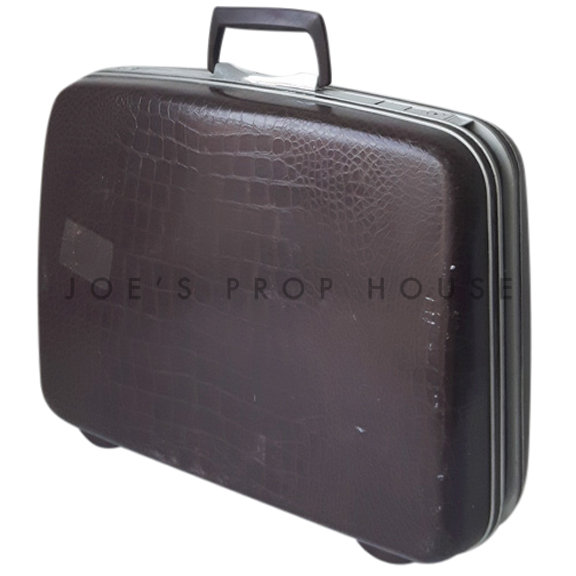 Rolland Hardshell Croc Briefcase Brown