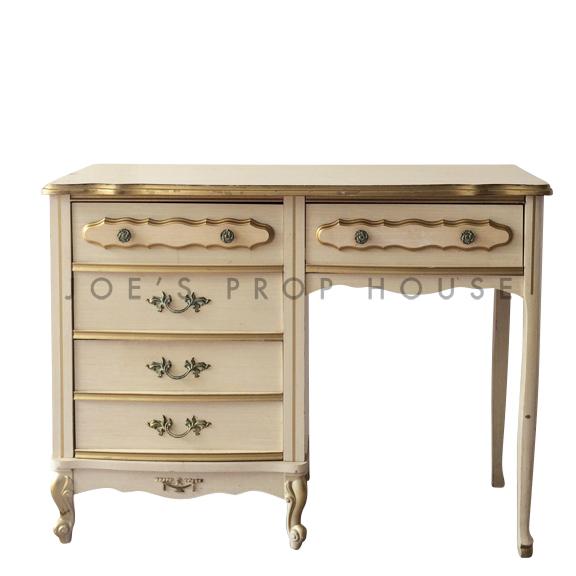 Abbey Desk Ivory w/Gold Trim
