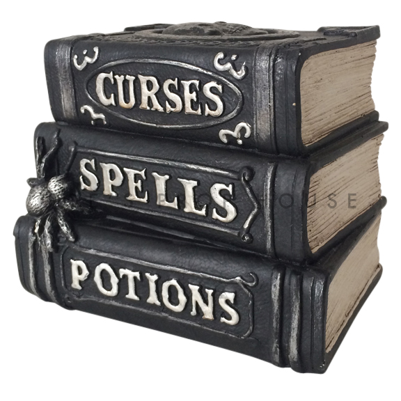 BUY ME / USED ITEM $19.99 each Curses Spells and Potions Black Faux Book Stack