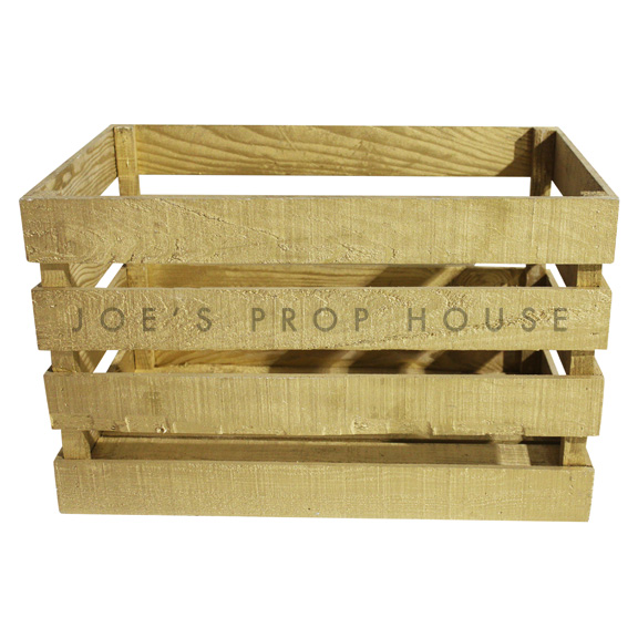 Wooden Crate Large Gold