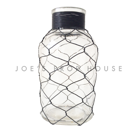 BUY ME / USED ITEM $10.99 each Black Chicken Wire Clear Bottle SHORT H8in