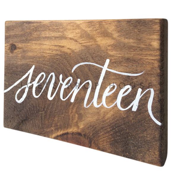 Wooden Table Number Block SEVENTEEN W7in x H5in