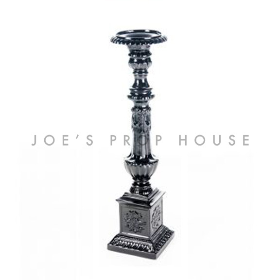 Baroque Candlestick Medium Black H27in