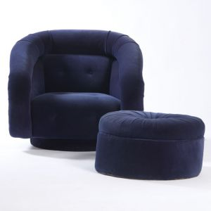 Dolores Velour Armchair Navy Blue