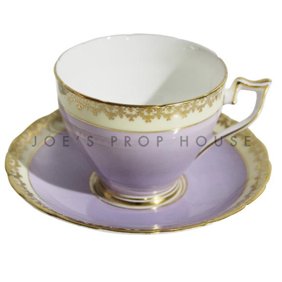 Lilah Gold Rim Teacup and Saucer