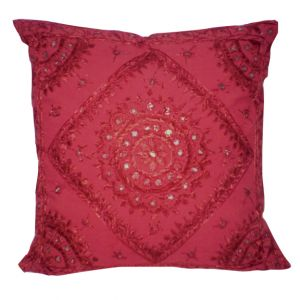 Alexandra Embroidered Accent Pillow Red