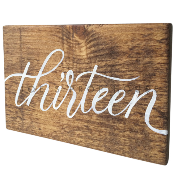 Wooden Table Number Block THIRTEEN W7in x H5in