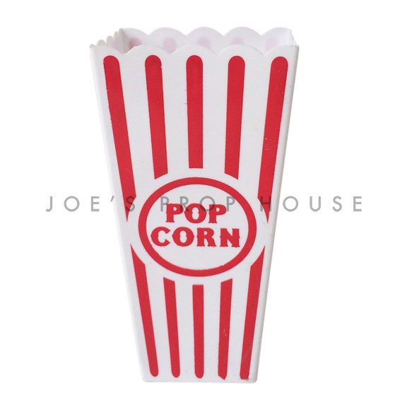 Red and White Striped Plastic Popcorn Containers