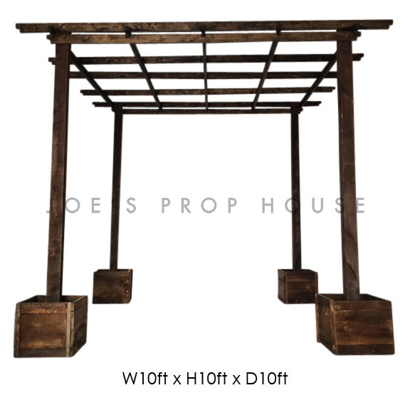 Wooden Pergola W10ft x H10ft x D10ft Brown