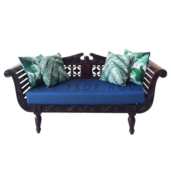 Zahara Teak Wood Loveseat w/Blue Seat Cushion + 4 Tropical Pillows