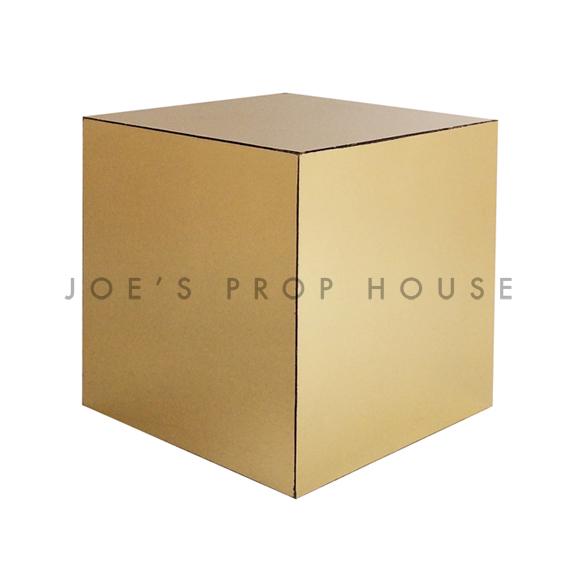 Mirror Gold Cube Display Riser W8in x H8in x D8in