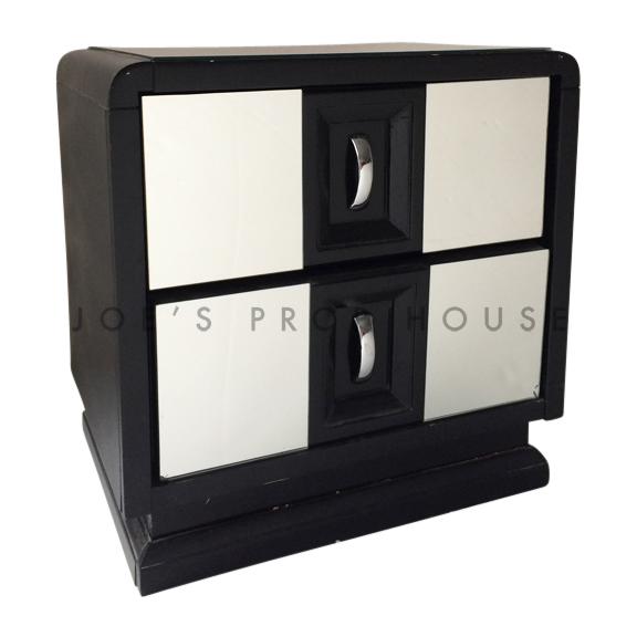 BUY ME / USED ITEM $40.00 each Retro Mirrored Nightstand Black
