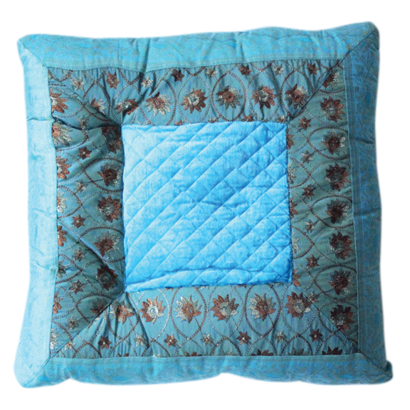 Kenza Floral Embroidered Pillow Turquoise