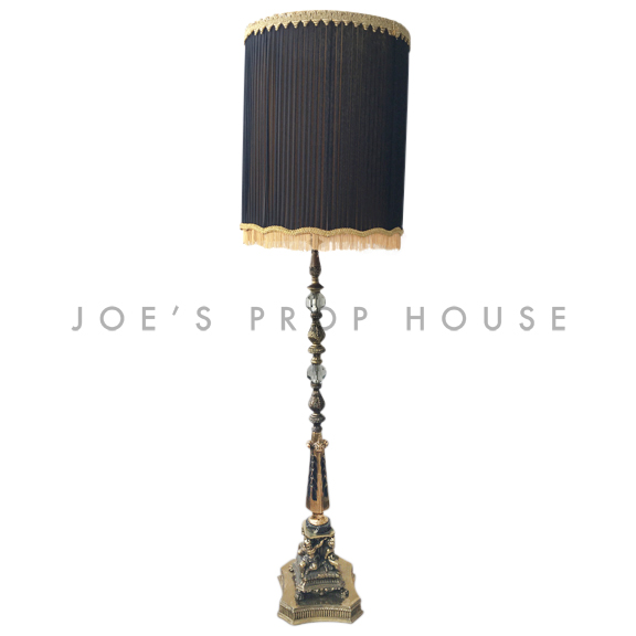Abbey Brass Floor Lamp w/BLACK Lampshade
