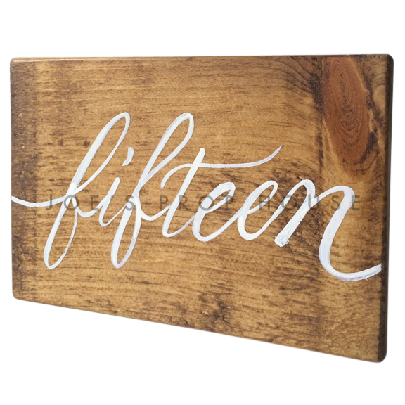 Wooden Table Number Block FIFTEEN W7in x H5in