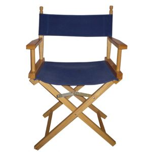 Blue Director Chair with Wood Frame