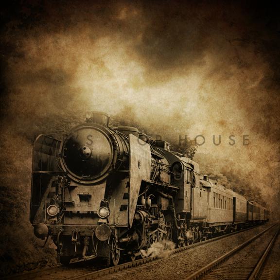 Vintage Train Vinyl Backdrop