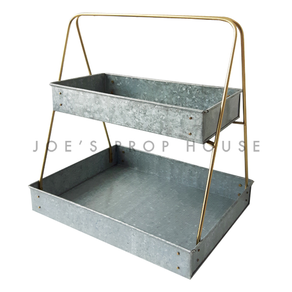Two-Tier Galvanized Metal Serving Tray